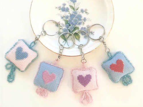Heart Cross stitch beaded k