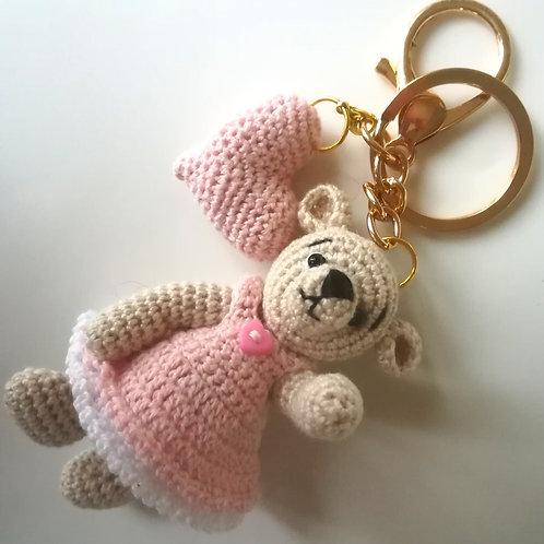 Heart teddy bear bag charm