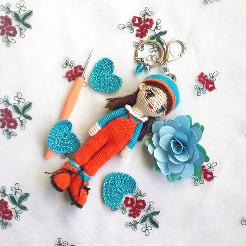 Girl in dungarees bag charm
