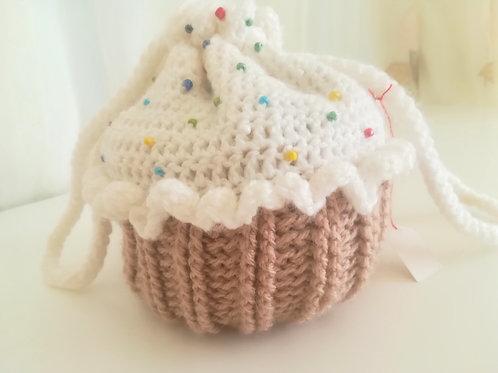 Beaded Cupcake Drawstring Bag