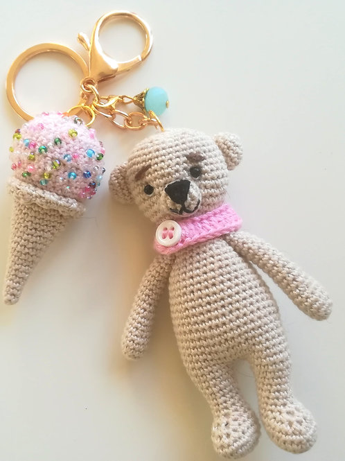 Cute bear & ice cream cone bag charm