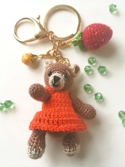 Adorable girl teddy bear bag charm
