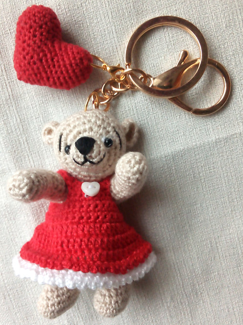 Heart teddy bear bag charm