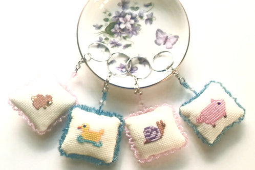 Animal Cross stitch beaded key Ring