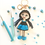 Thumbnail: Small girl in blue dress Bag Charm