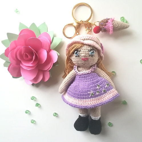 Girl in Pink & Lilac bag charm