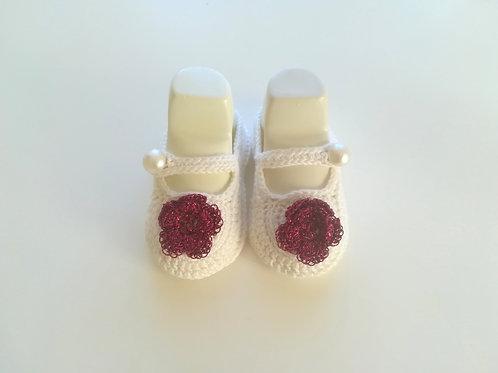 Newborn Baby Girl Irish Rose Booties