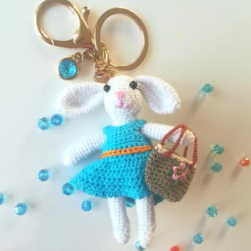 White rabbit bag charm