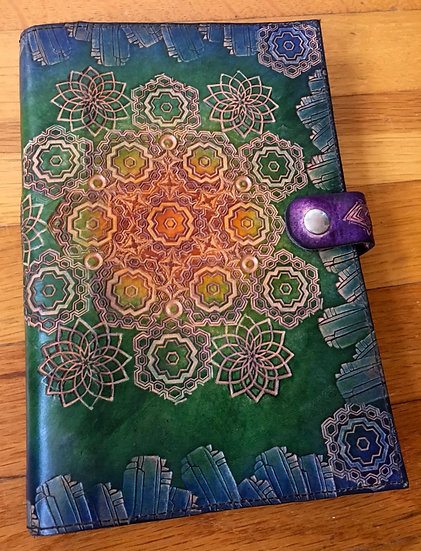 Sacred Geometry Mandala Handcrafted & Dyed Leather Notebook Journal Cover