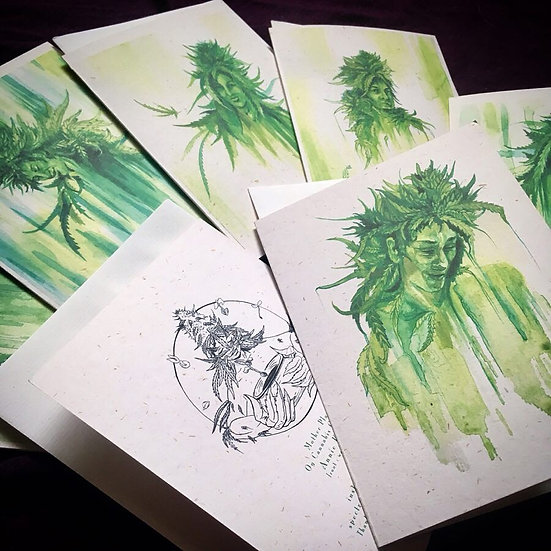 """LadyBuds"" hemp greeting card set by Annie Kyla Bee...Hemp paper prints"
