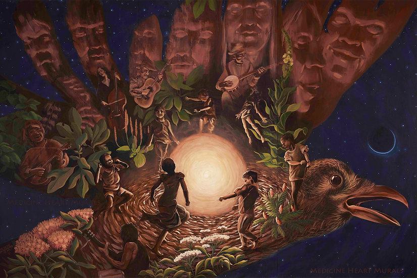 'Appalachian Crow Song' Original Painting by Medicine Heart Murals