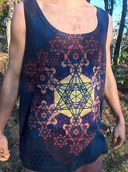 Metatron's Cube Fractal Mandala ~ Hand-Painted Tank Top ~ XL