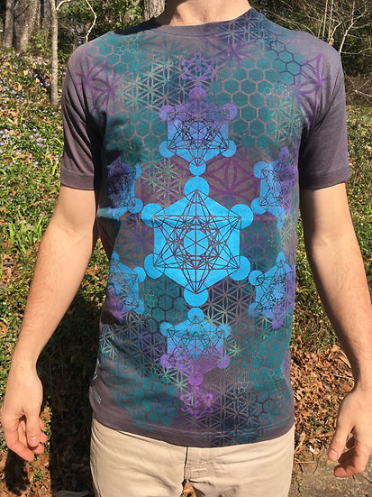 Metatron's Cube Mandala ~ Hand-Painted Organic T-Shirt ~ Small