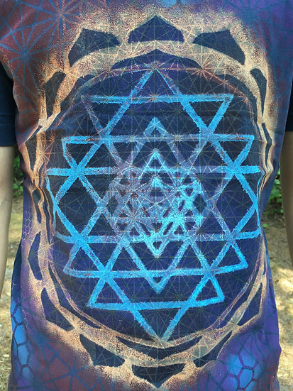Sri Yantra Mandala ~ Hand-Painted Organic T-Shirt ~ Small