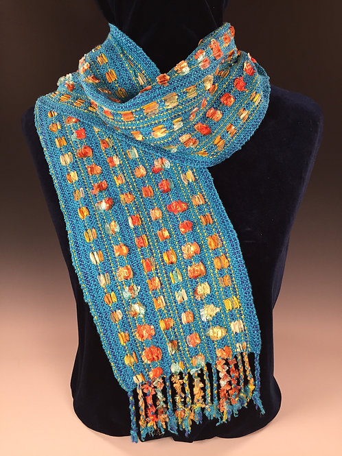 Turquoise/Rust Ribbon Scarf