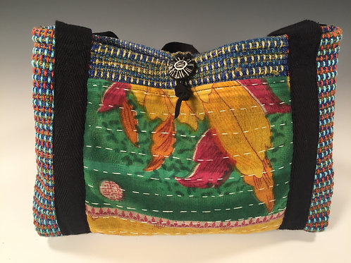 Kantha Cloth Purse Green/Yellow/Purple