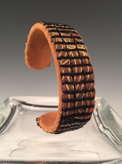 Narrow Cuff Bracelet Gold Leaves