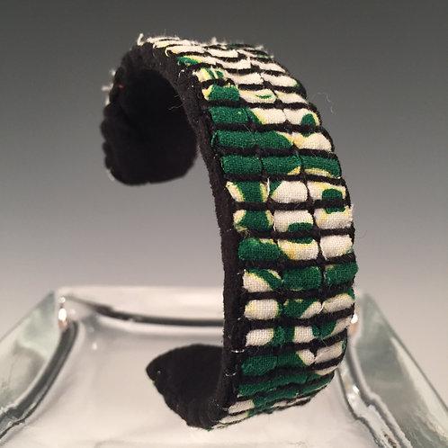 Narrow Cuff Bracelet Green Batik