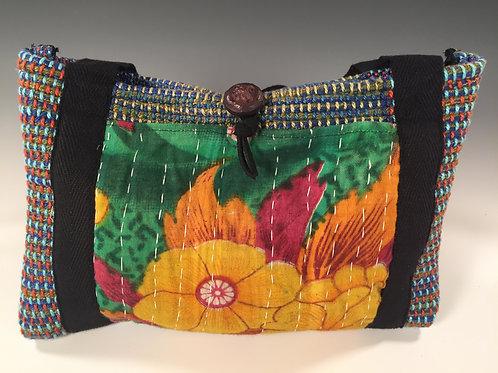 Kantha Cloth Purse Green Floral