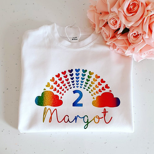 Rainbow Heart Birthday T-Shirt