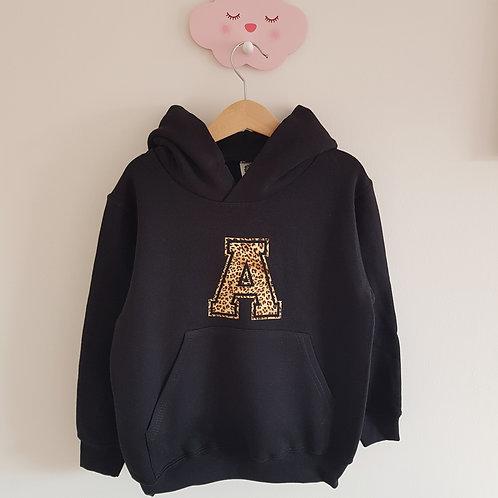 Leopard initial hoodie