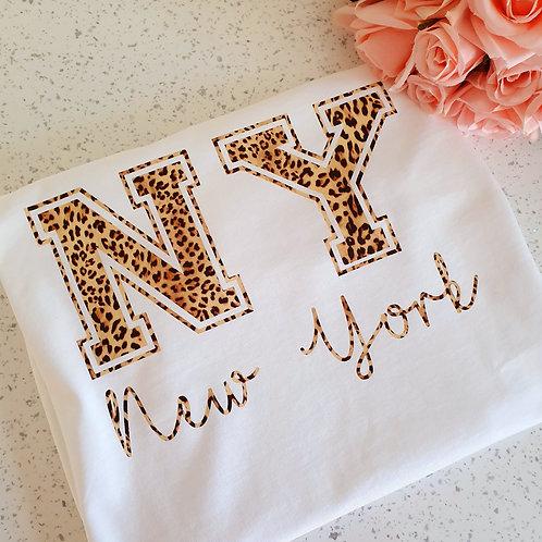 Leopard Print New York T-Shirt