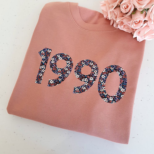 Floral Birthday Year Sweater
