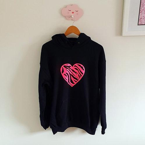 Neon Zebra Heart Hoodie