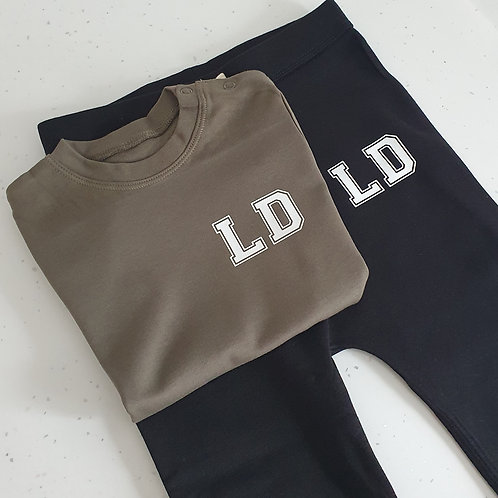 Varsity Initial T-Shirt And Jogger Set
