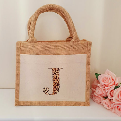 Leopard Initial Jute Bag