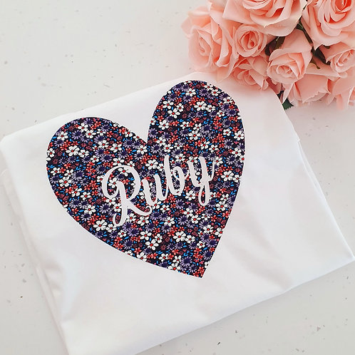 Personalised Floral Heart T-Shirt