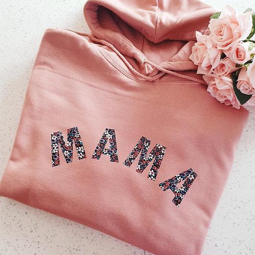 Dusty Pink Floral Print Mama Hoodie