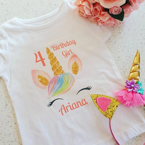 Personalised Unicorn Birthday t-Shirt