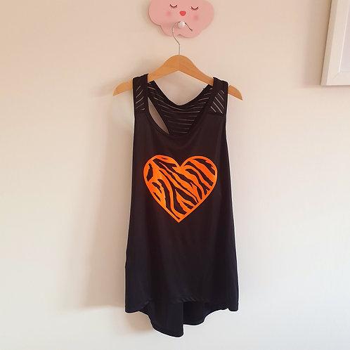 Neon Zebra Heart Workout Vest