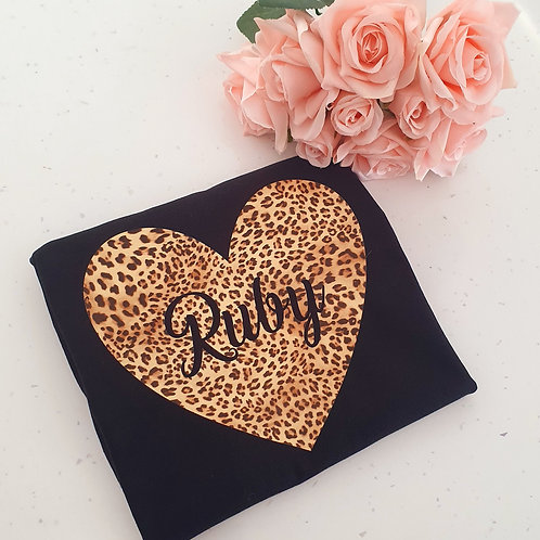 Personalised Leopard Heart T-Shirt