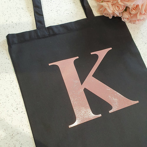 Rose Gold Initial Tote Bag