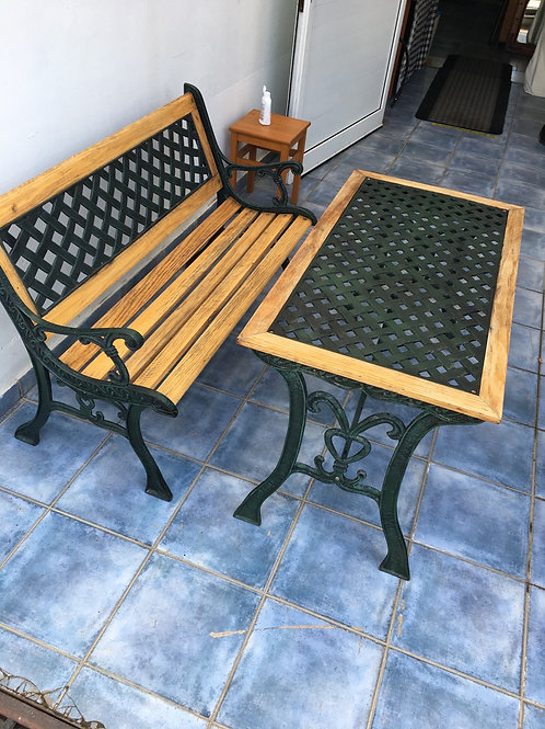 Wrought iron table and bench chair