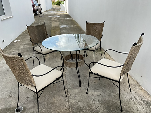Round glass top garden table and 4 chairs