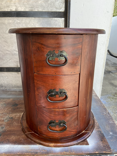 Indian wood unique unit with 3 drawers 41circ 46h