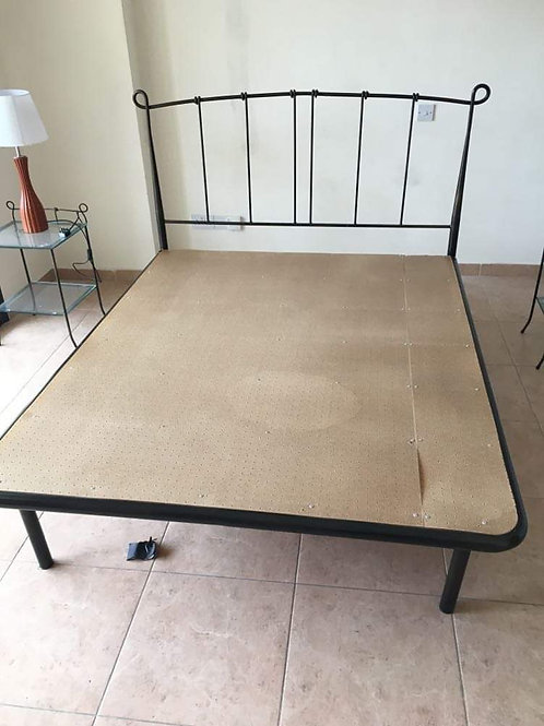 Hand made iron king size bed frame with mattress