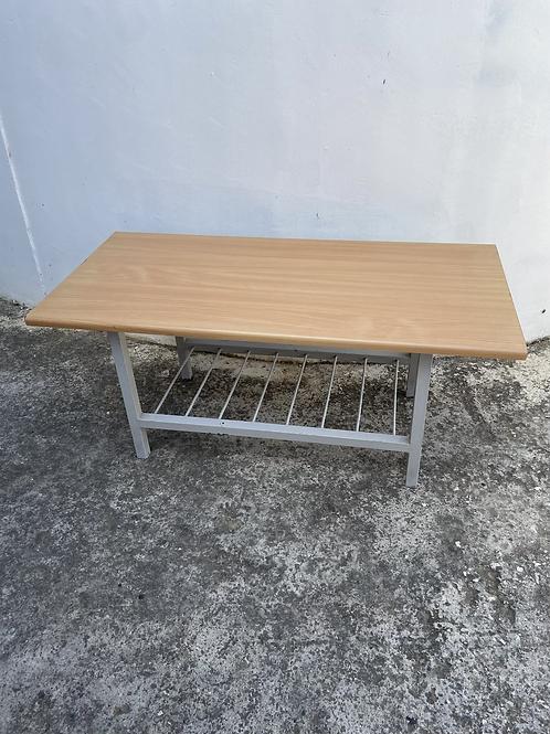 Light wood veneer with metal frame coffee table