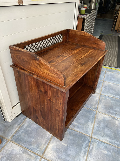 Indian wood unit/open storage chest with decorative lattice detail