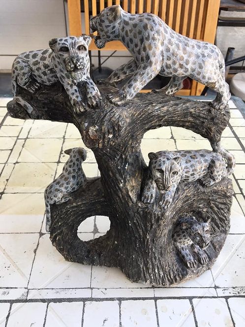 Beautiful South African hand carved stone cheetahs