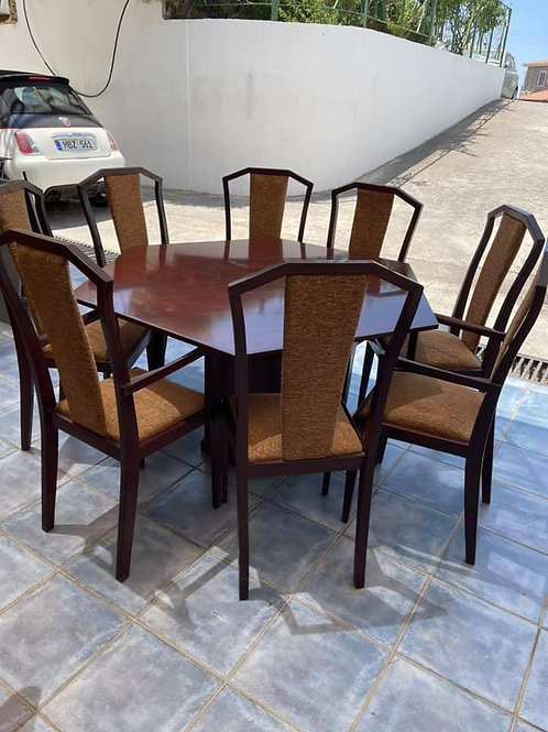 Hexagon shape mahogany dining table and 8 chairs (2 carvers)