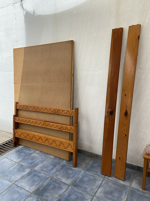 Pine double bed frame without mattress