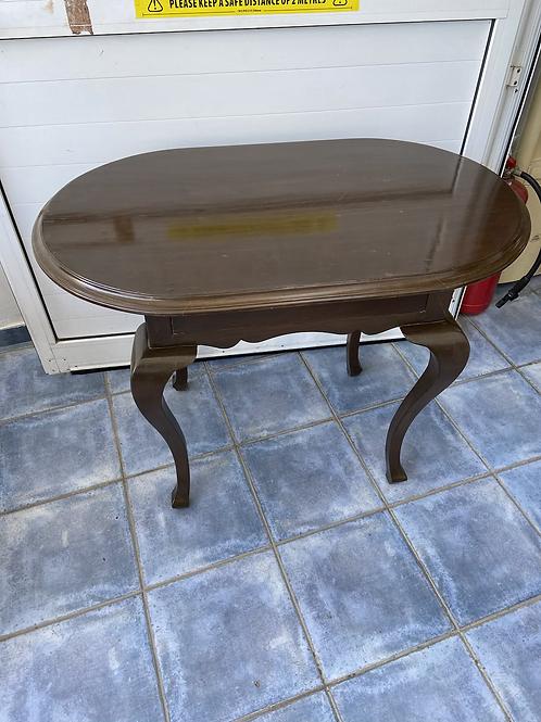 Dark wood vintage oval table with turned legs