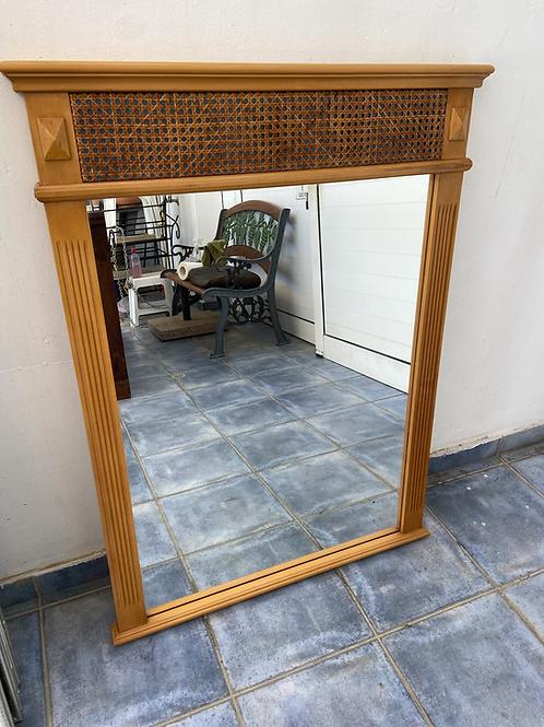 Light wood veneer mirror with lattice effect (2 available)