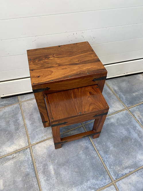 Indian wood nest of 2 tables