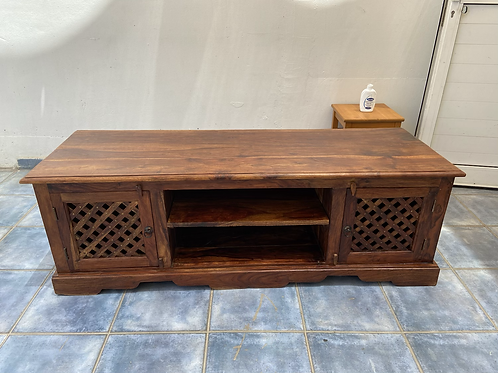 Indian wood TV unit with 2 side cupboards with wooden lattice front