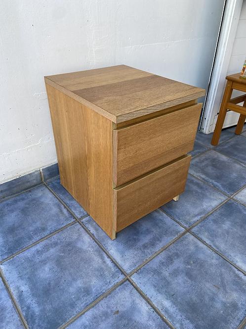 Oak veneer 2 drawer unit
